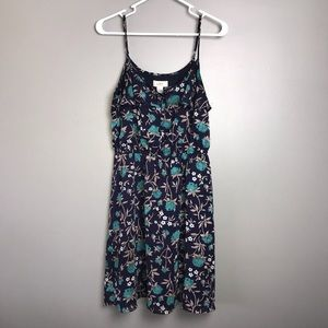 Loft Dress Woman's Size 6 Color Blue Tan Green